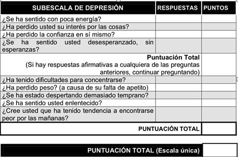 escala depresion ope enfermeria