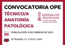 convocatoria técnico anatomía patológica Valencia