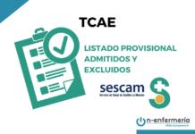 listas provisionales admitidos y excluidos tcae sescam