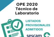OPE Técnico de Laboratorio SESCAM listados admitidos