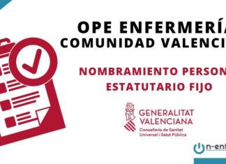 Nombramiento personal estatutario fijo enfermería Comunidad Valenciana