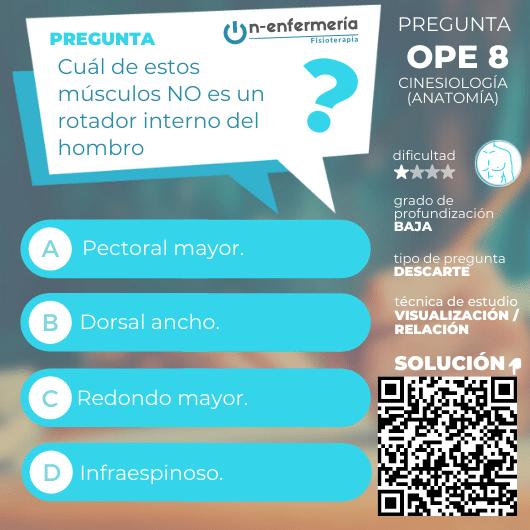 Pregunta nº 8 examen OPE Fisioterapia - Cinesiología