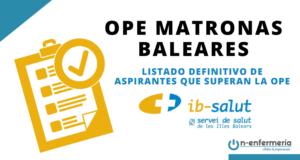 Listado definitivo de aspirantes que superan la OPE Matronas Baleares 2018