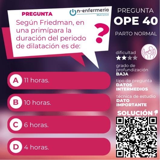 Pregunta examen OPE Matronas nº 40 - Parto normal