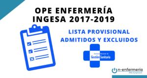 LISTA PROVISIONAL ADMITIDOS Y EXCLUIDOS OPE ENFERMERÍA INGESA 2017-2019