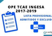 LISTA PROVISIONAL ADMITIDOS Y EXCLUIDOS OPE TCAE INGESA 2017-2019