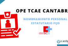 Nombramiento personal estatutario fijo OPE TCAE Cantabria 2017
