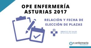 Relación y fecha de elección de plazas para los aspirantes que superan la OPE Enfermería Asturias 2017