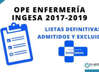 Listas definitivas admitidos OPE Enfermería INGESA 2017-2019