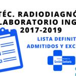 Listas definitivas admitidos OPE Técnico Radiodiagnóstico y Laboratorio INGESA 2017-2019