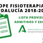 Listas provisionales de admitidos y excluidos OPE Fisioterapia Andalucía 2018-2021