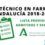 Listas provisionales de admitidos y excluidos OPE Técnico en Farmacia Andalucía 2018-2021
