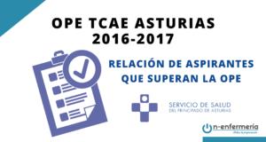 Relación de aspirantes que superan la OPE TCAE Asturias 2016-2017