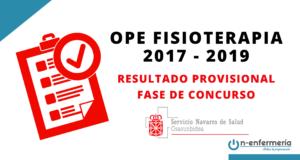 Resultados provisionales fase de concurso OPE Fisioterapia Navarra 2017-2019